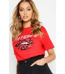 lips slogan t-shirt, red