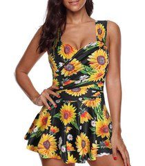 sunflower print crossover one-piece swimdress