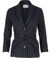 navy pinstripe belted blazer