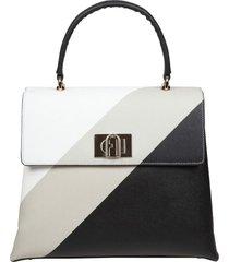 furla 1927 handbag l in black white gray leather