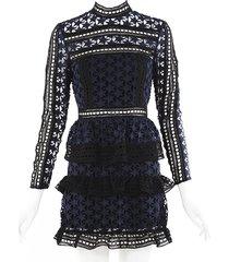 self portrait high neck star lace paneled black blue mini dress blue/black sz: xs