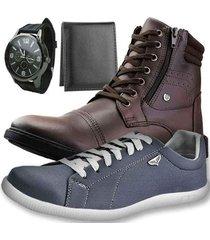 kit bota casual dhl masculino + sapatênis + relógio + carteira slim - masculino