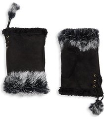 dyed rabbit fur-trim fingerless gloves