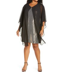 caxlz by connected apparel lenny sequin cocktail dress with chiffon overlay, size 24w in gold at nordstrom