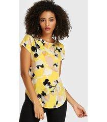 blusa de manga corta con estampado abstracto amarillo redondo cuello