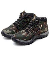 bota adventure feminina confortável para trilha macshoes 218 verde militar