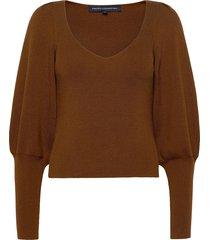 joss knits puff sleeve jumper gebreide trui bruin french connection