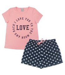 conjunto pijama infantil feminino em meia malha love rosê/marinho multicolorido