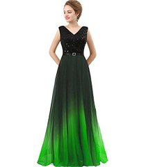 lemai plus size black sequined ombre chiffon gradient prom evening dress lime gr