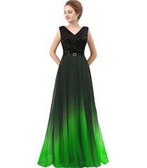 lemai plus size black sequined ombre chiffon gradient prom evening dress lime gr