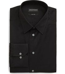 men's emporio armani trim fit solid dress shirt, size 14.5 - black