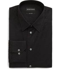 men's emporio armani trim fit solid dress shirt, size 16 - black