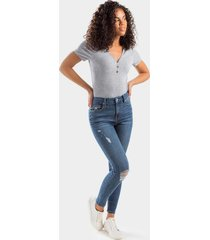 harper heritage core distressed knees skinny jeans - medium wash