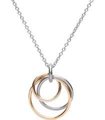 collana in acciaio bicolore con pendente cerchi per donna