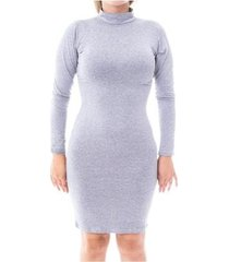vestido moda vicio justo manga longa gola alta feminino