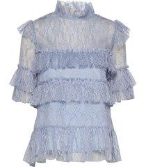 rachel blouse blouses short-sleeved blauw by malina