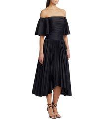 amur women's rinna off-the-shoulder pleated midi dress - black - size 2
