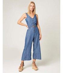 macacão midi jeans feminino malwee azul marinho - gg