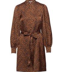 printed dress with waist tie and voluminous sleeve knälång klänning brun scotch & soda