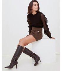 motivi maglia con maniche in georgette donna nero
