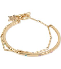 bcbgeneration gold-tone multicolor pave layered chain cuff bracelet