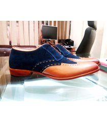 handmade men navy brown shoes, oxford formal dress suede leather shoes wing tip