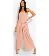 plisse strappy jumpsuit, blush