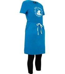 abito in maglina e leggings (set 2 pezzi) in cotone biologico (blu) - bpc bonprix collection