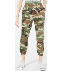 tinseltown juniors' camo relaxed cropped cargo pants