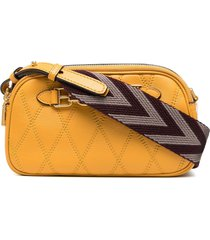 bally quilted zip-up crossbody bag - yellow