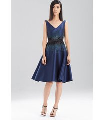 satin twill dress, women's, blue, size 14, josie natori