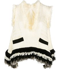 sacai relaxed chunky knit vest - white