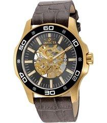 reloj invicta 17261 gris cuero hombres