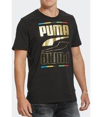 camiseta puma rebel tee 5 continents preta masculina