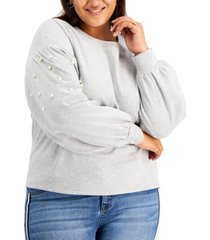 full circle trends trendy plus size faux-pearl-embellished puff-sleeve top