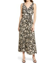 chelsea28 floral surplice sleeveless dress, size x-large in black- brown floral at nordstrom