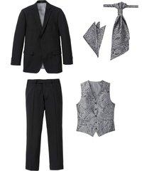 kostym (5 delar): kavaj, byxa, väst, plastrong, bröstnäsduk