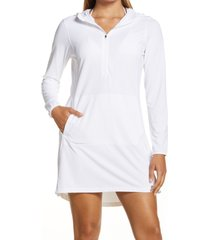 women's l.l. bean sand beach hooded cover-up tunic, size x-small - white