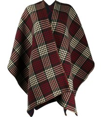 gucci tartan and interlocking g reversible cape - black