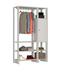 estante closet nova mobile yes com 1 cabideiro 1 porta e 6 nichos