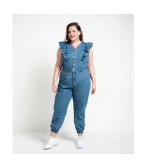 macacão longo jeans liso com babados curve & plus size azul