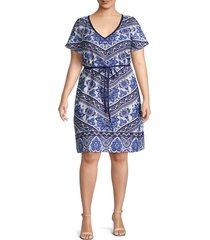 estelle women's plus floral-print knee-length dress - blue print - size 3x (22-24)