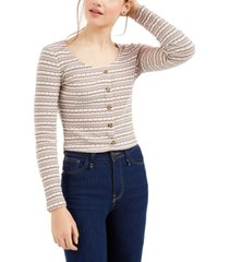 hippie rose juniors' button crop pointelle top