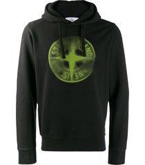stone island faded compass hoodie - black