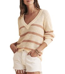 faherty miramar v-neck sweater, size large in coconut cottage stripe at nordstrom