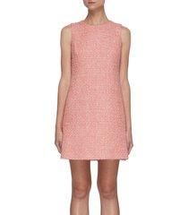 'coley' tweed crewneck a-line mini dress