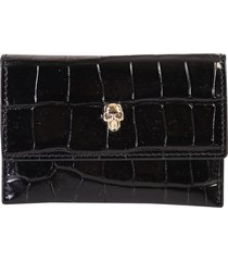 alexander mcqueen crocodile print leather card holder