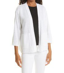 eileen fisher open front cardigan, size x-large in white at nordstrom