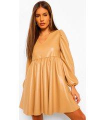 petite gesmokte pu jurk met pofmouwen, camel
