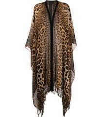 saint laurent fringed leopard-print poncho - brown